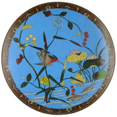Lovely Antique Edo Period Japanese Bronze Cloisonne Serving Plate Kingfisher