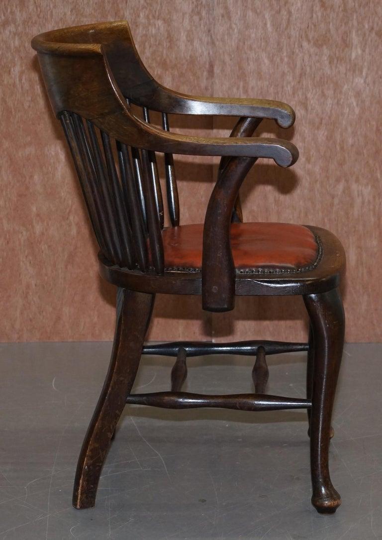 Lovely Antique English Edwardian Ralph Johnson Oak Captains Office Desk Armchair For Sale 5
