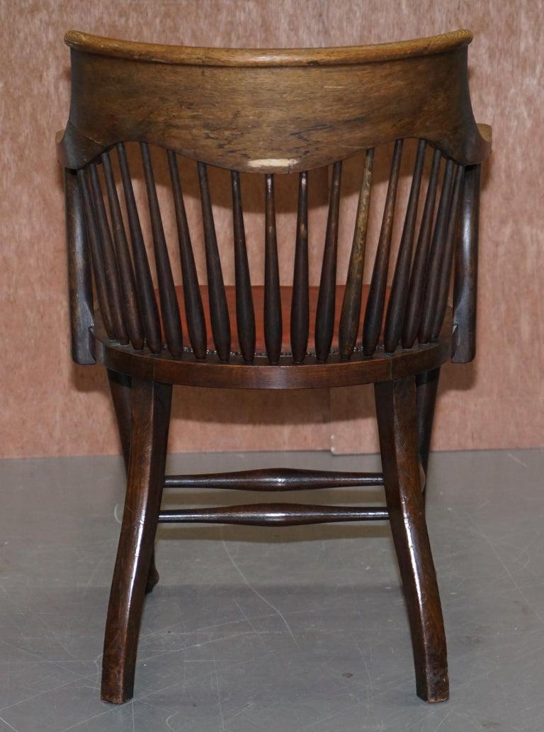 Lovely Antique English Edwardian Ralph Johnson Oak Captains Office Desk Armchair For Sale 6