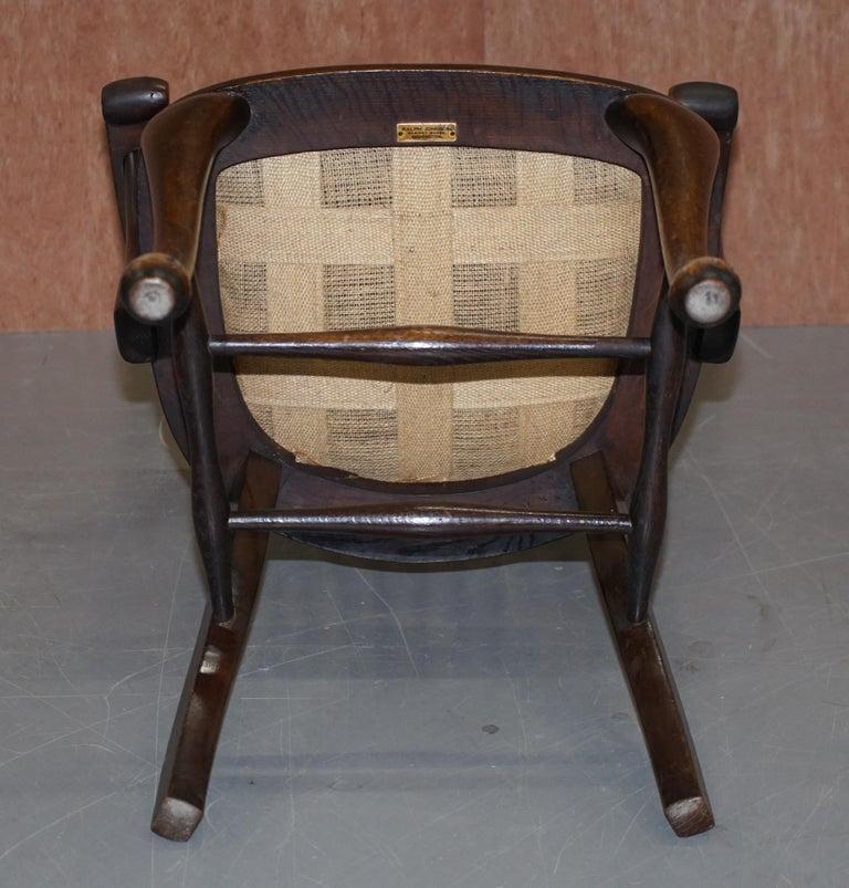 Lovely Antique English Edwardian Ralph Johnson Oak Captains Office Desk Armchair For Sale 7