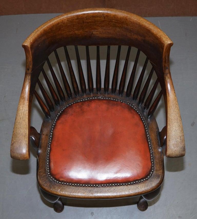 Early 20th Century Lovely Antique English Edwardian Ralph Johnson Oak Captains Office Desk Armchair For Sale