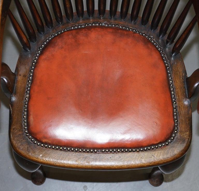 Lovely Antique English Edwardian Ralph Johnson Oak Captains Office Desk Armchair For Sale 1