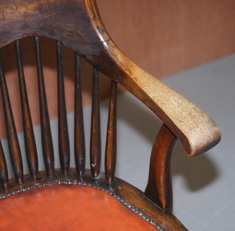 Lovely Antique English Edwardian Ralph Johnson Oak Captains Office Desk Armchair For Sale 2