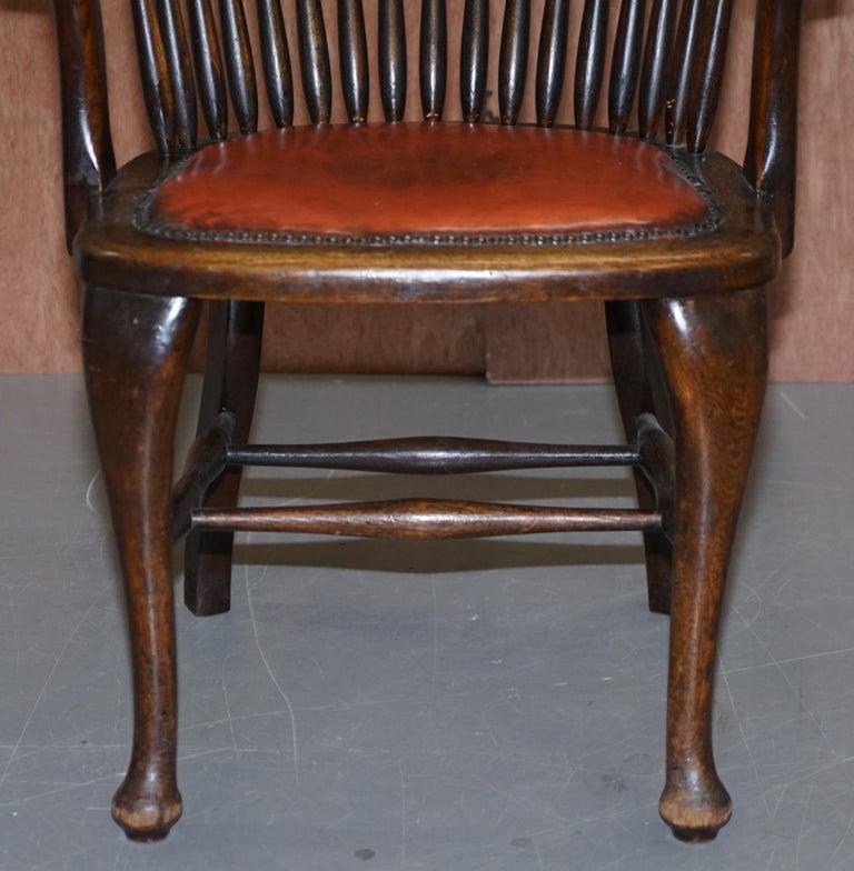 Lovely Antique English Edwardian Ralph Johnson Oak Captains Office Desk Armchair For Sale 3