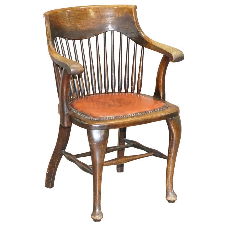 Lovely Antique English Edwardian Ralph Johnson Oak Captains Office Desk Armchair For Sale
