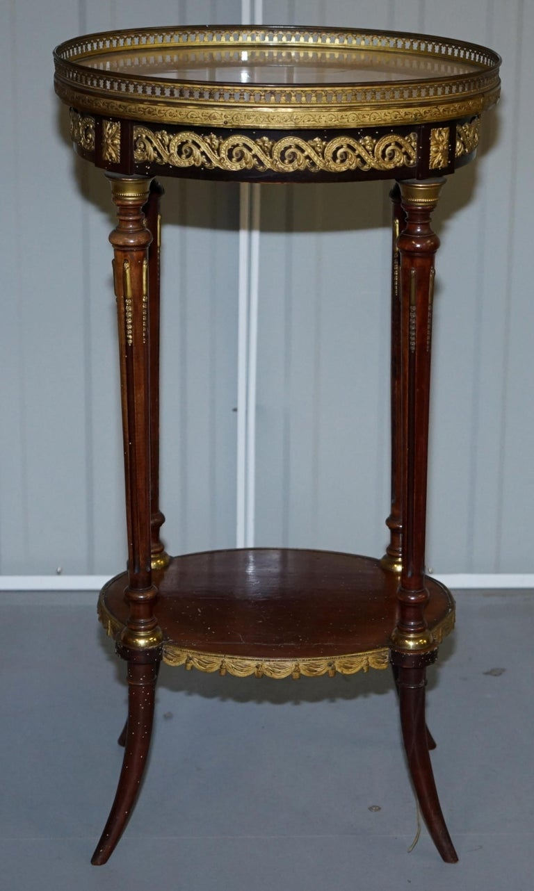 Lovely Antique French Marble Topped with Brass Gallery Rail Lamp Wine Side Table For Sale 4