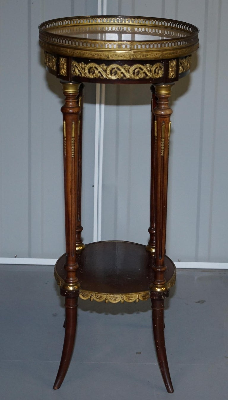 Lovely Antique French Marble Topped with Brass Gallery Rail Lamp Wine Side Table For Sale 6