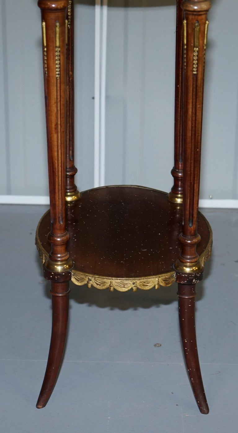 Lovely Antique French Marble Topped with Brass Gallery Rail Lamp Wine Side Table For Sale 8