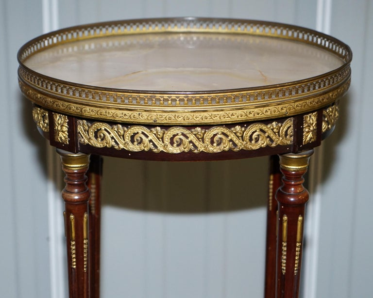 19th Century Lovely Antique French Marble Topped with Brass Gallery Rail Lamp Wine Side Table For Sale
