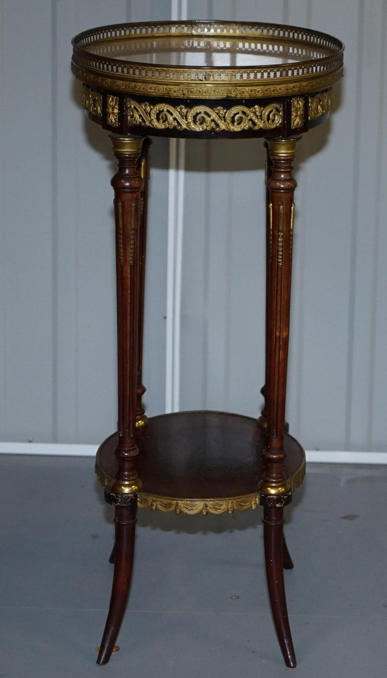 Lovely Antique French Marble Topped with Brass Gallery Rail Lamp Wine Side Table For Sale 2