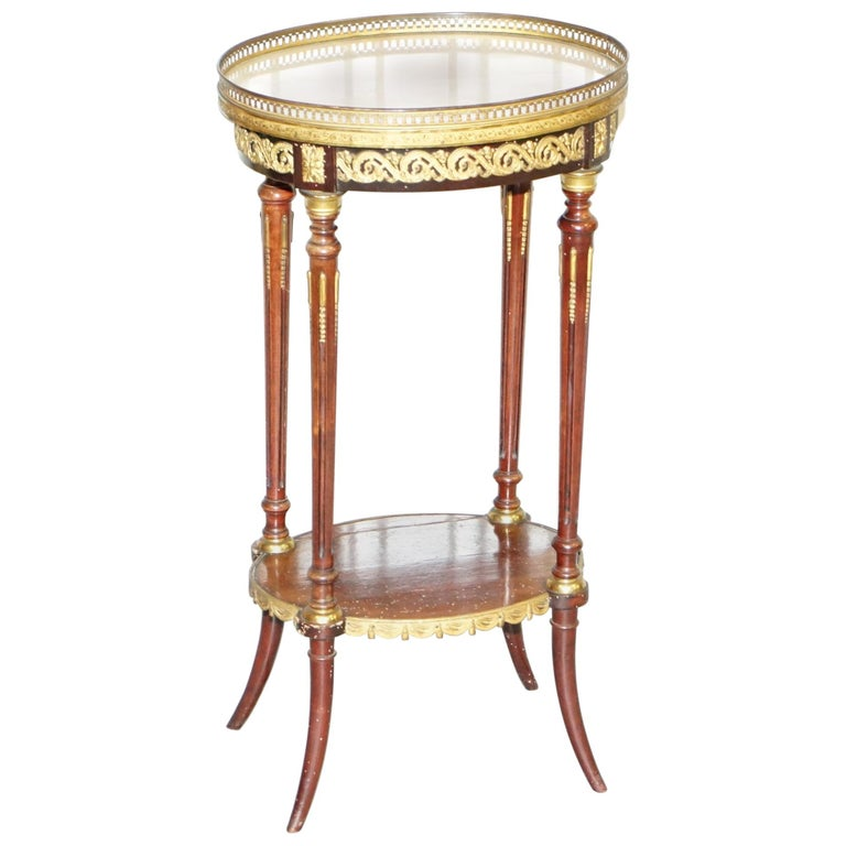 Lovely Antique French Marble Topped with Brass Gallery Rail Lamp Wine Side Table For Sale