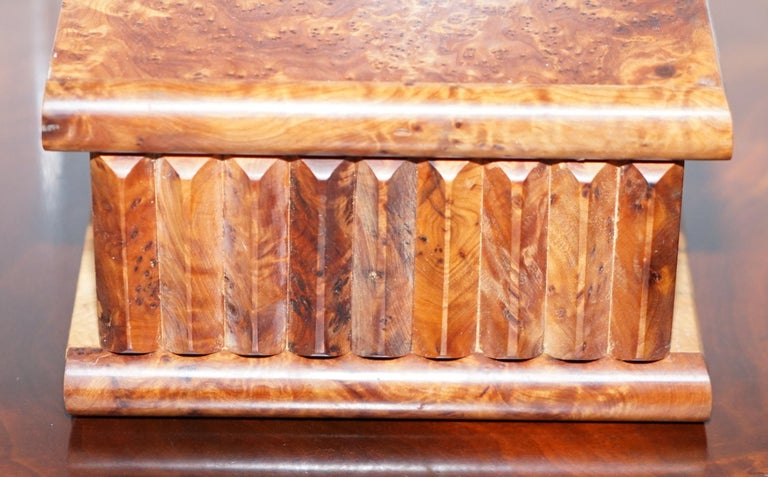 Edwardian Lovely Antique Hand Made Burr Walnut Trinket Jewellery Box Stunning Patina For Sale