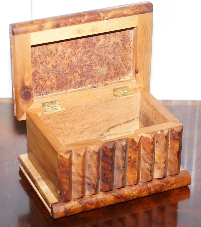 Lovely Antique Hand Made Burr Walnut Trinket Jewellery Box Stunning Patina For Sale 1