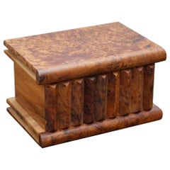Lovely Antique Hand Made Burr Walnut Trinket Jewellery Box Stunning Patina