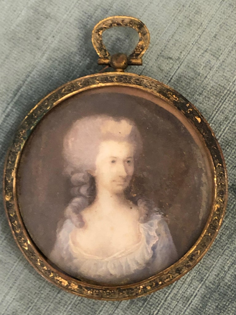 19th Century Lovely Antique Miniature Painting in Bronze Frame For Sale
