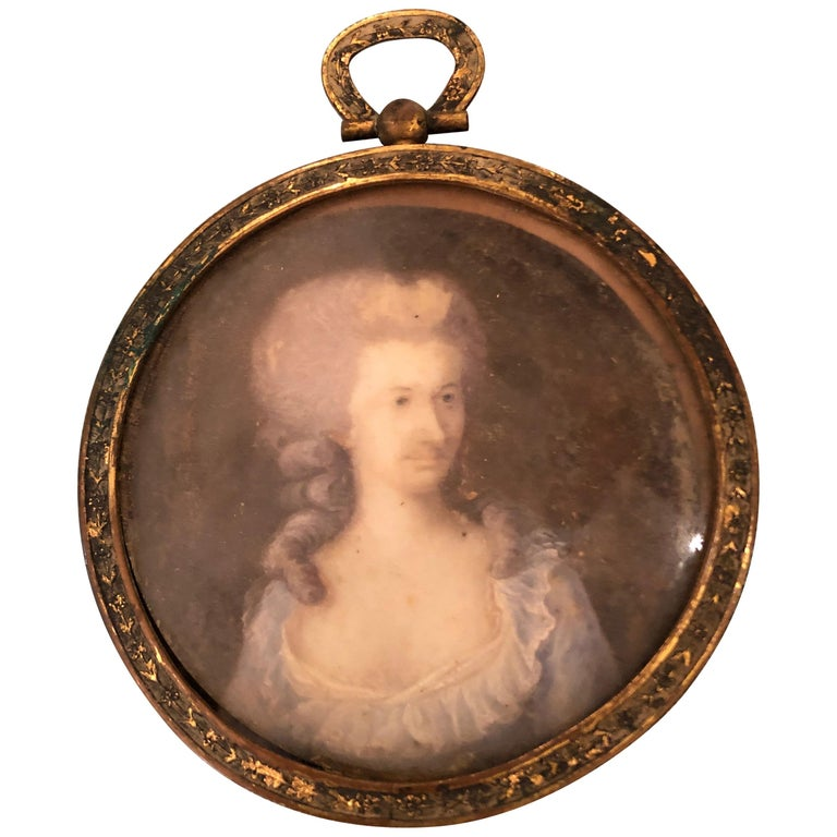 Lovely Antique Miniature Painting in Bronze Frame For Sale