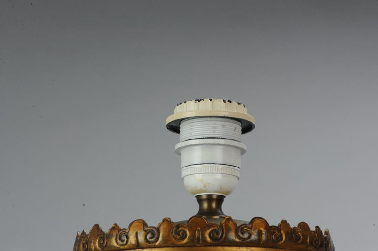 Lovely Antique Satsuma Lamp Vase Set with Cranes and Turtles, Japan 19th Century For Sale 5