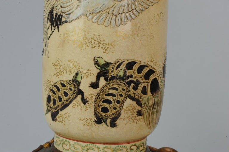 Lovely Antique Satsuma Lamp Vase Set with Cranes and Turtles, Japan 19th Century For Sale 6