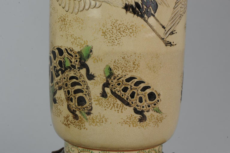 Lovely Antique Satsuma Lamp Vase Set with Cranes and Turtles, Japan 19th Century For Sale 9