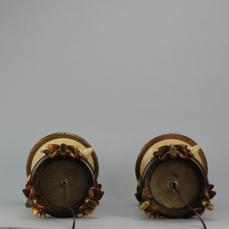 Meiji Lovely Antique Satsuma Lamp Vase Set with Cranes and Turtles, Japan 19th Century For Sale