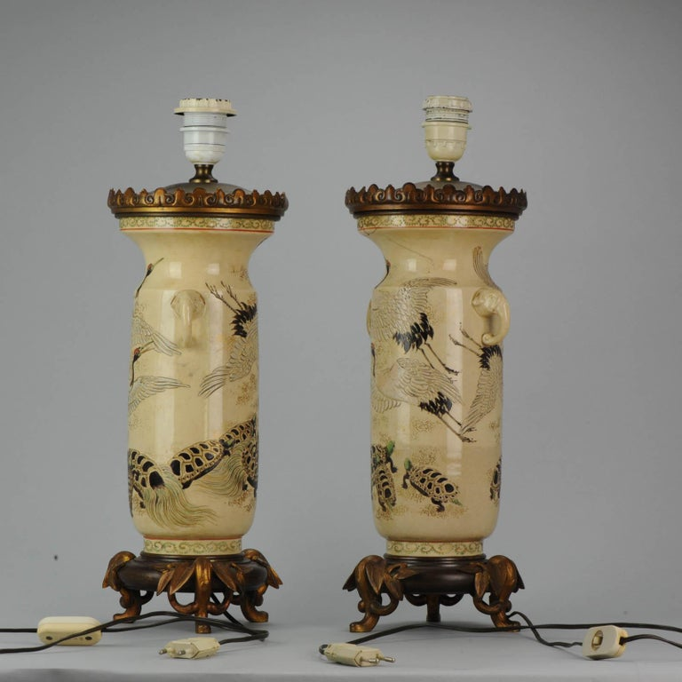 Lovely Antique Satsuma Lamp Vase Set with Cranes and Turtles, Japan 19th Century In Distressed Condition For Sale In Amsterdam, Noord Holland