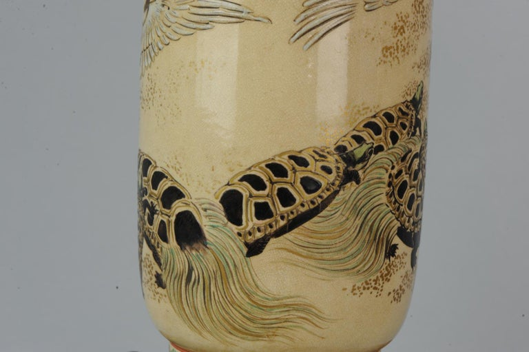Lovely Antique Satsuma Lamp Vase Set with Cranes and Turtles, Japan 19th Century For Sale 3