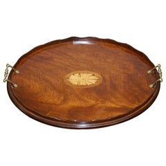 Lovely Antique Victorian Walnut & Bronze Sheraton Inlaid Butlers Serving Tray