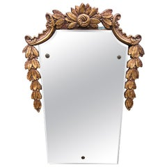 Lovely Antique Wall Mirror with Giltwood Garland