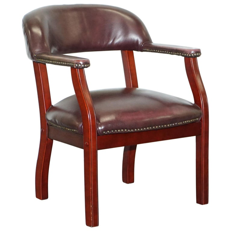 Lovely Art Deco Style Aged Brown Leather Desk Armchair ...