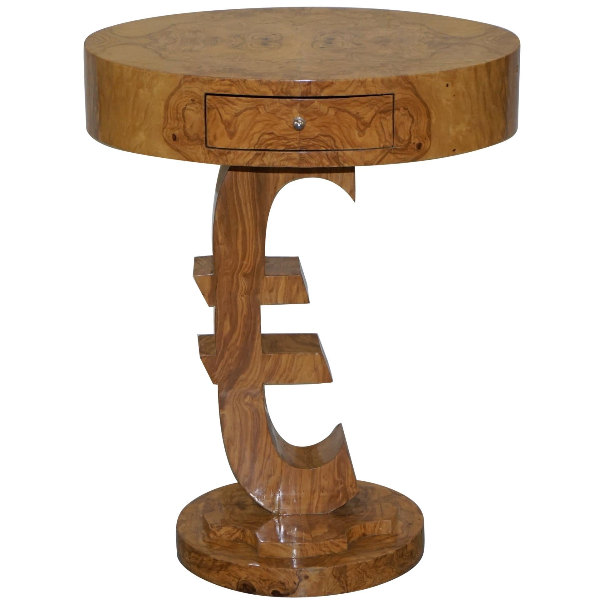 Lovely Art Deco Style Burr Walnut Side End Lamp Table with Euro Sign Base