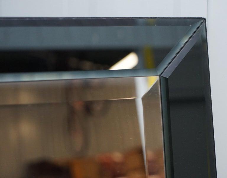 English Lovely Bevelled Edge Mirror with Black Glass Bevelled Frame Velvet For Sale