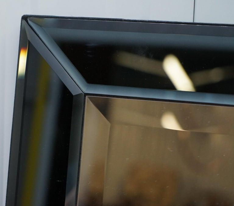 Hand-Crafted Lovely Bevelled Edge Mirror with Black Glass Bevelled Frame Velvet For Sale