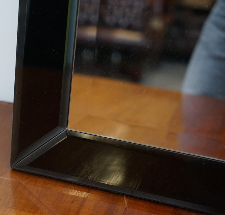 Lovely Bevelled Edge Mirror with Black Glass Bevelled Frame Velvet In Good Condition For Sale In London, GB