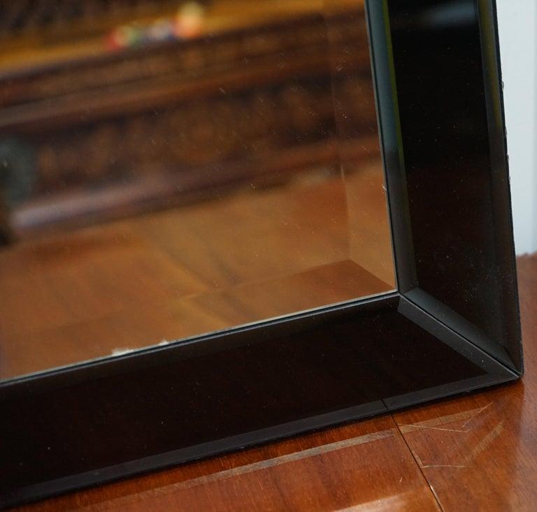 Contemporary Lovely Bevelled Edge Mirror with Black Glass Bevelled Frame Velvet For Sale