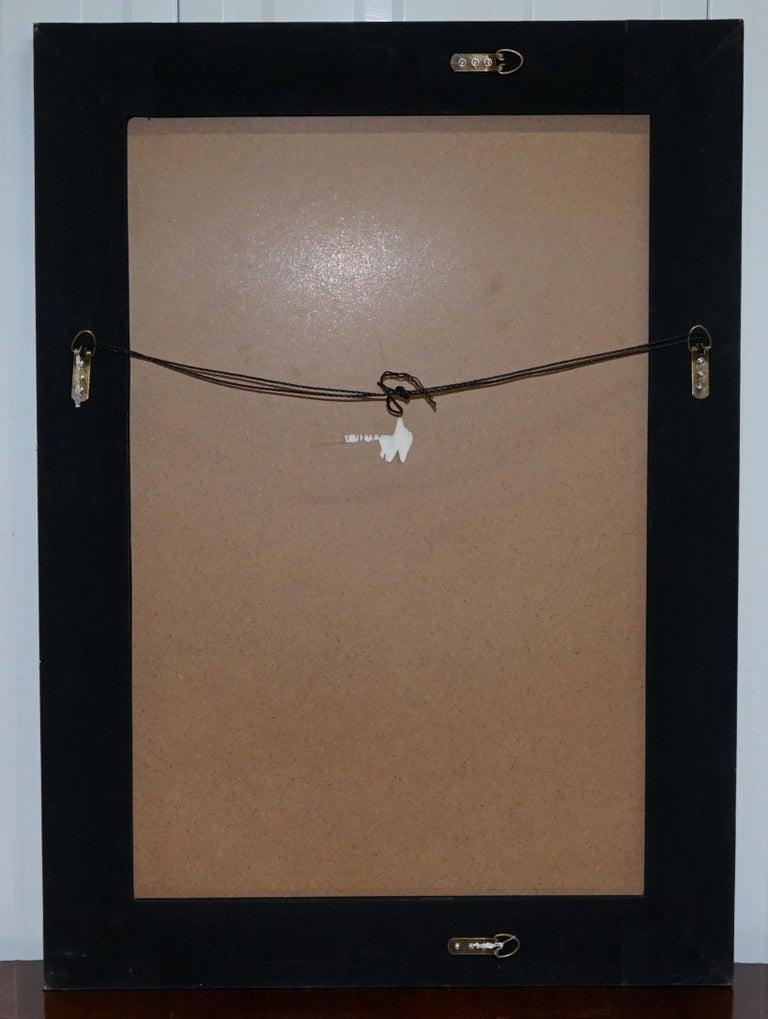 Lovely Bevelled Edge Mirror with Black Glass Bevelled Frame Velvet For Sale 1