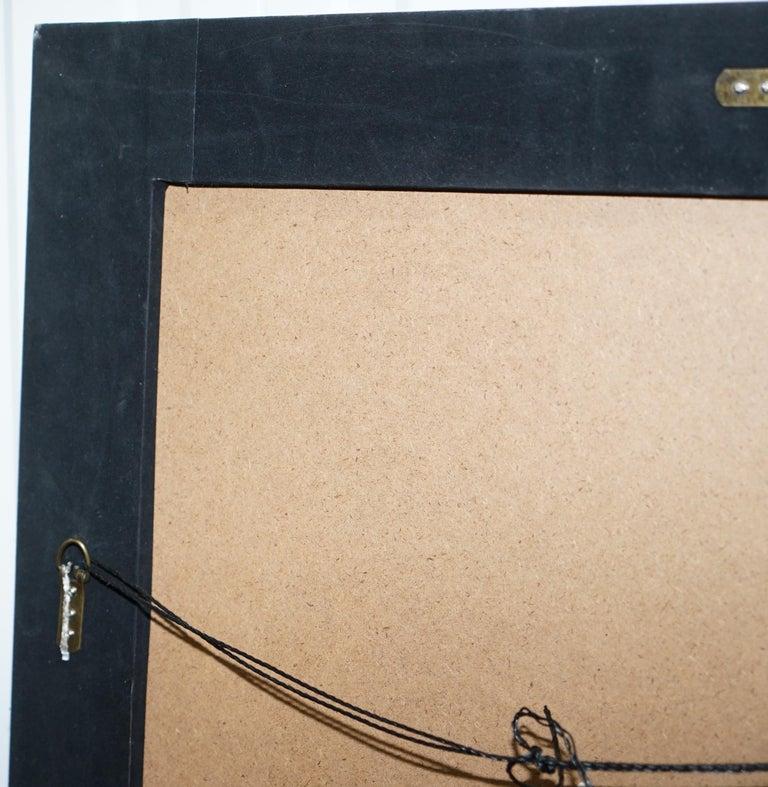 Lovely Bevelled Edge Mirror with Black Glass Bevelled Frame Velvet For Sale 2