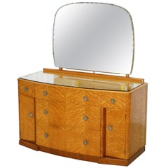 Lovely Birdseye Maple Dressing Table, Glass Top & Mirror by Tudor Rose Bros Ltd