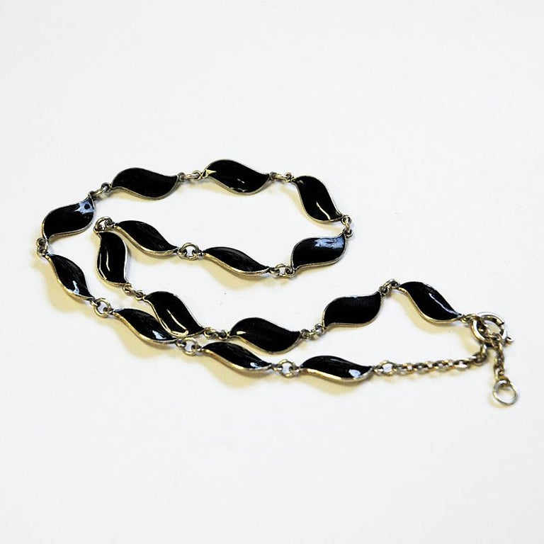 Mid-20th Century Lovely Black Enameled Necklace by Aksel Holmsen, 1950s, Norway For Sale
