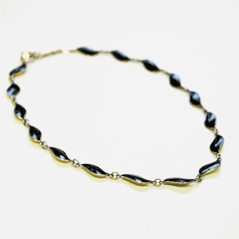 Silver Lovely Black Enameled Necklace by Aksel Holmsen, 1950s, Norway For Sale