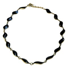 Lovely Black Enameled Necklace by Aksel Holmsen, 1950s, Norway