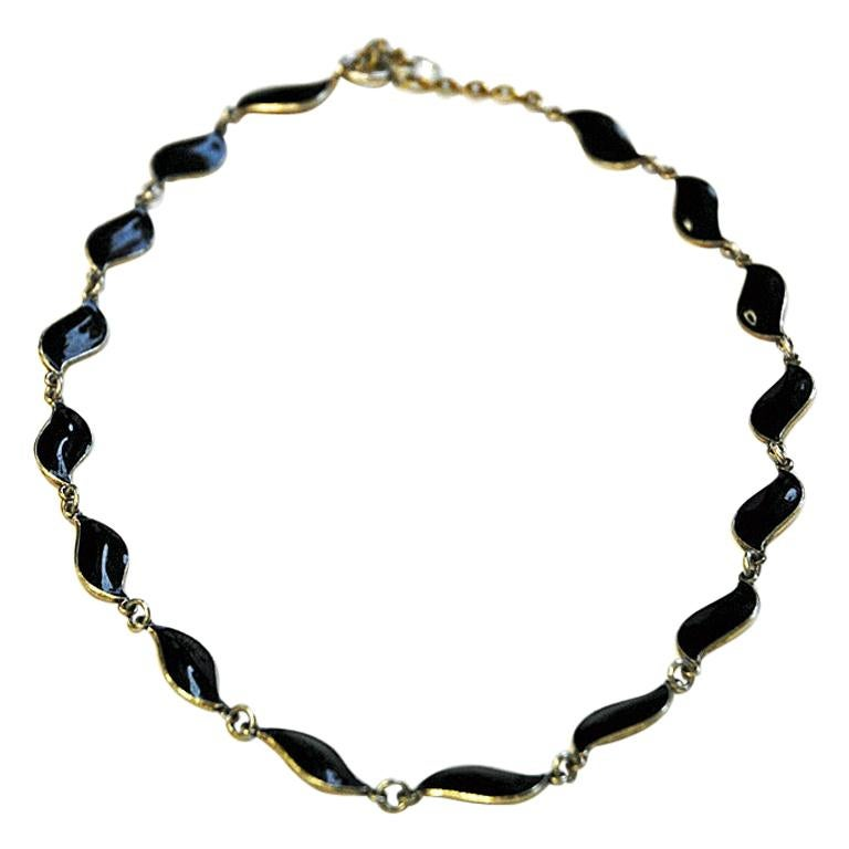 Lovely Black Enameled Necklace by Aksel Holmsen, 1950s, Norway For Sale