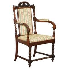 Lovely Bobbin Turned Carver Armchair with Ornately Carved Throne Frame Must See