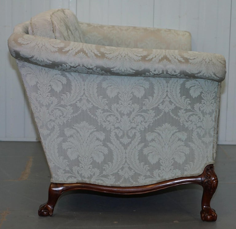 Lovely Brights of Nettlebed Three Piece Sofa & Armchair Suite Damask Upholstery For Sale 3