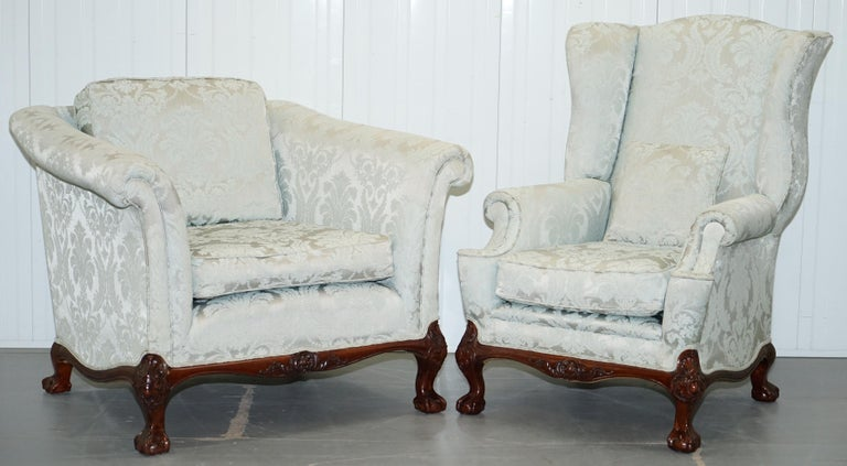 Lovely Brights of Nettlebed Three Piece Sofa & Armchair Suite Damask Upholstery For Sale 4
