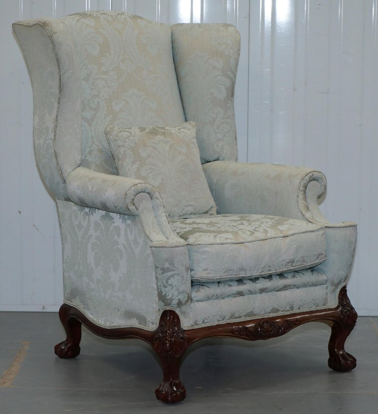 Lovely Brights of Nettlebed Three Piece Sofa & Armchair Suite Damask Upholstery For Sale 5