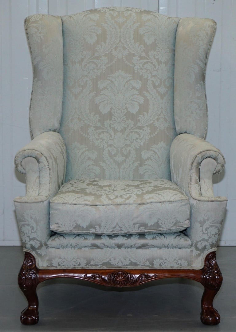 Lovely Brights of Nettlebed Three Piece Sofa & Armchair Suite Damask Upholstery For Sale 6