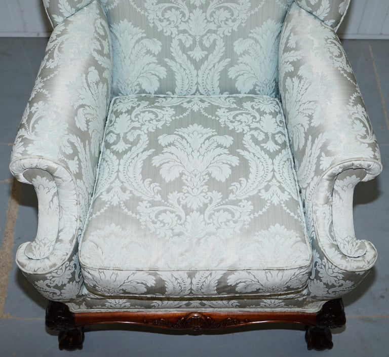 Lovely Brights of Nettlebed Three Piece Sofa & Armchair Suite Damask Upholstery For Sale 7