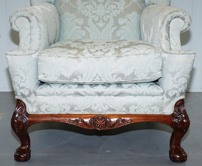 Lovely Brights of Nettlebed Three Piece Sofa & Armchair Suite Damask Upholstery For Sale 8
