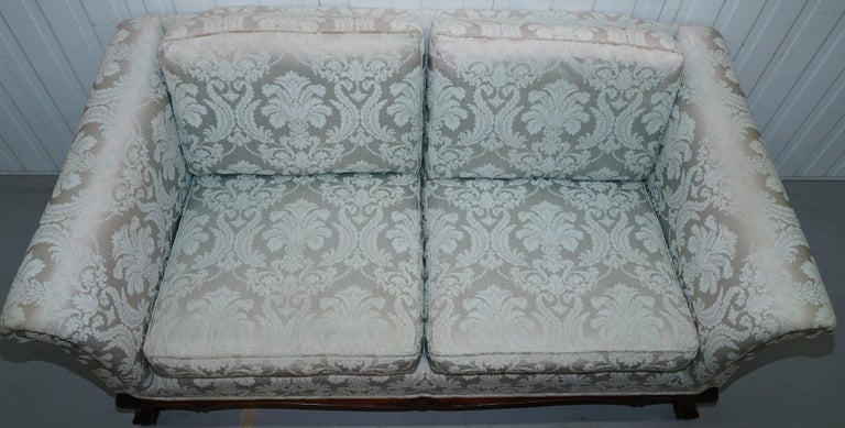 Hand-Crafted Lovely Brights of Nettlebed Three Piece Sofa & Armchair Suite Damask Upholstery For Sale