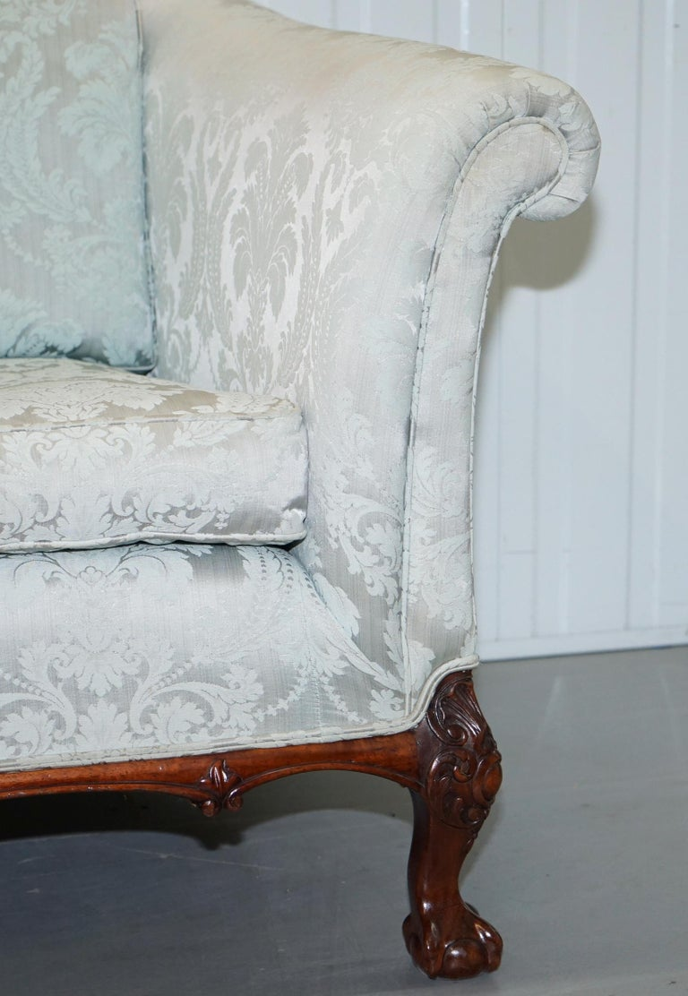 20th Century Lovely Brights of Nettlebed Three Piece Sofa & Armchair Suite Damask Upholstery For Sale